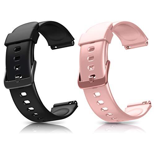 Letsfit ID205L Smartwatch Ersatz Armbänder, verstellbare Smartwatch Ersatzbänder für ID205L Fitness Armbanduhr, mit 2er-Pack, Schwarz + Pink