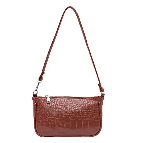 Bolso de mano para mujer, diseño de cocodrilo, piel de cocodrilo, bolso de mano, bolso vintage, color Marrón, talla 23.5cm*13cm*6cm