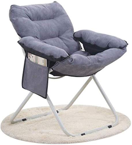 ROLL Klappstuhl New Skin Freundlich Velvet Startseite Freizeit Lounger Faule Couch Stuhl im Freien beweglichen Aluminium Folding Moon Chair (Color : Gray)