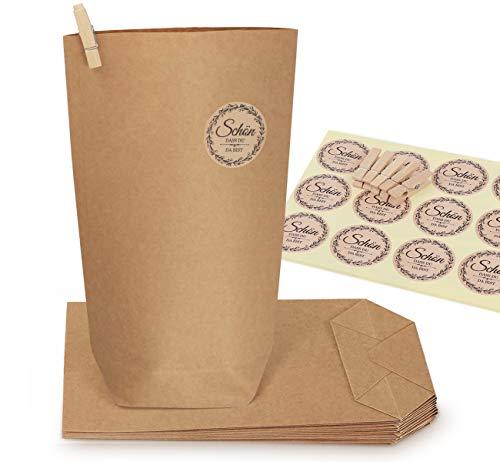 ABSOFINE 60 Braune Papiertüten 22 * 14 * 6cm 100gr./m² Kraftpapier Tüten Boden mit Holzklammern und Aufkleber,Papierbeutel Geschenktüten Bodenbeutel für Weihnachten Hochzeit DIY Verpacken