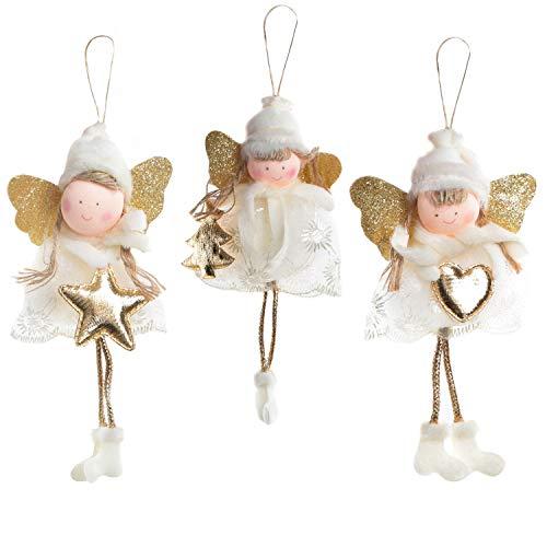 Logbuch-Verlag 3 colgantes de ángel de la guarda, color blanco y dorado, 19 cm, con estrella, corazón y árbol de Navidad