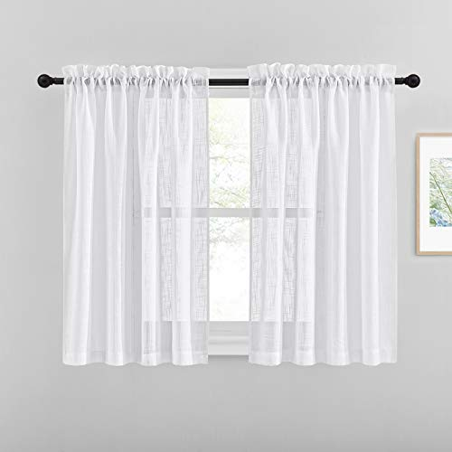 NICETOWN White Semi Sheer Linen Curtains for Bedroom Windows, Privacy Semitransparent Light Filtering Drapes for Bathroom/Living Room, W52 x L45, 1 Pair