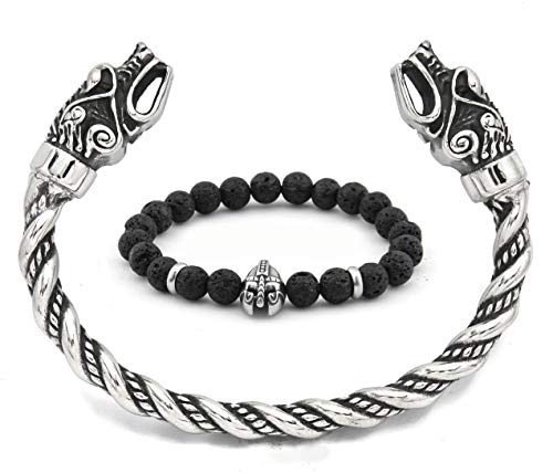 BaviPower Viking Wolf Head Twisted Bangle Cuff Authentic Scandinavian Jewelry for Mens Womens Protection Strength
