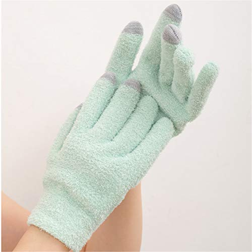 Touch Screen Moisturizing Gloves And Socks Set Gel Moisturizing Spa Gloves And Gel Heel Socks for Cracked Dry Skin Repair Treatment,Blue