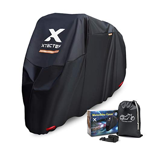 XYZCTEM Motorbike Cover, Fit up to 97 Inches Long Motorcycle, Waterproof All Season Outdoor Protection Heavy Duty Durable Thick 210D Oxford Fabric