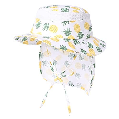 Comhats Babymütze Fischerhut Kleinkind Flapper für Mädchen Jungen Säugling mit Nackenschutz aus Baumwolle Sonnenschutz Gelbe Ananas 47cm