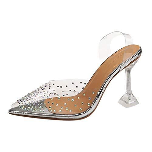 KERULA Sandalen Damen Absatz, High Heels Kristall Transparenter Peeptoe Hausschuhe Pumps Damenschuhe Slipper Shoes Sandaletten Schuhe