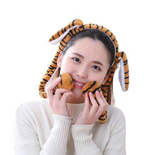 Hothap Unisex schattige tijger luipaard dier oren hoofdband LED licht beweegbare airbag pluche knuffeldier kinderen haar Hoop Cosplay foto rekwisieten B2 (eerste foto)
