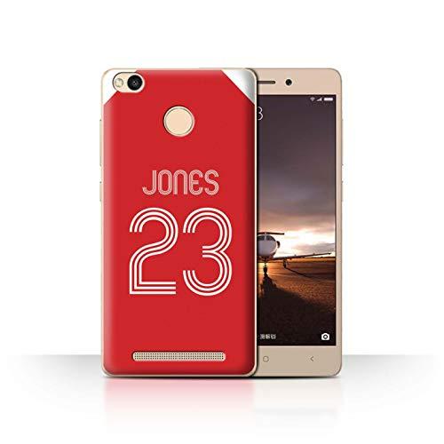 Personalisiert Individuell Fußball Vereine Trikots Kit Hülle für Xiaomi Redmi 3 Pro/3S Prime/Rot-Weiss Design/Initiale/Name/Text Schutzhülle/Case/Etui