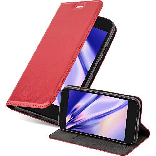 Cadorabo Hülle für Google Pixel XL in Apfel ROT - Handyhülle mit Magnetverschluss, Standfunktion & Kartenfach - Hülle Cover Schutzhülle Etui Tasche Book Klapp Style