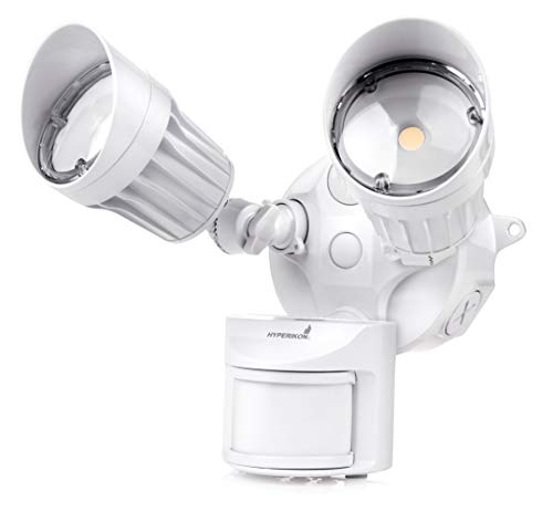Hyperikon Luz LED para Seguridad con Sensor de Movimiento y Sensor Dia/Noche, 20 Watts, 2 Cabezas, Blanco, 5000 Kelvin