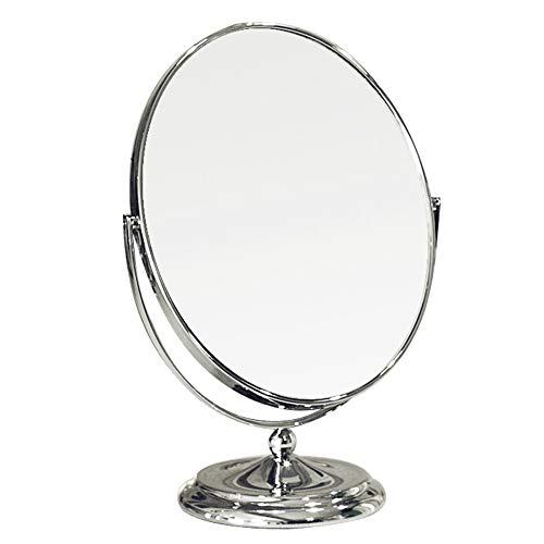 Miroir de maquillage ovale double face