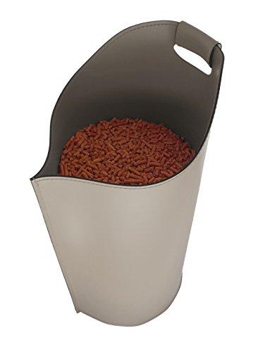 SAPEL: Pelletkorb Leder, aus recyceltem Leder (Lederfaserstoff, Nicht Kunstleder) Taubengrau Farbe.