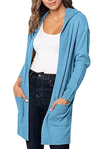 Cárdigan de punto de las mujeres otoño básico de manga larga de punto frente abierto suéter Cardigan de color sólido con capucha, azul, XL
