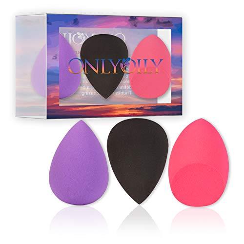 ONLYOILY 3 pièceséponge de maquillage, fond de teint Blush Estompeur Correcteur Yeux Visage Poudre Crème Maquillage sponges. sans latex, hypoallergénique et sans odeur.(02)
