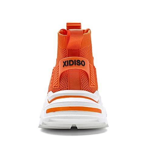 SANNAX Zapatillas de Deporte de Moda para Hombre Altas Hombres Running Zapatos para Correr Gimnasio Sneakers Naranja 43