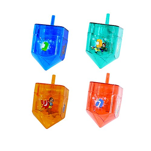 Izzy 'n' Dizzy 4 Pack Fillable Dreidels - Great for Chocolate Coins and Candy - Assorted Random Designs - Large