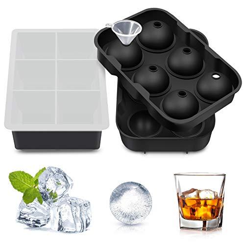 Eiswürfelform Silikon Große Eiskugelform Quadratische Eiswürfelform mit Deckel 6-Fach 2-Set Eiswürfelbehälter für Whiskey Cocktail Champagner Milchsaft Pudding Gelee oder Babynahrung BPA Frei