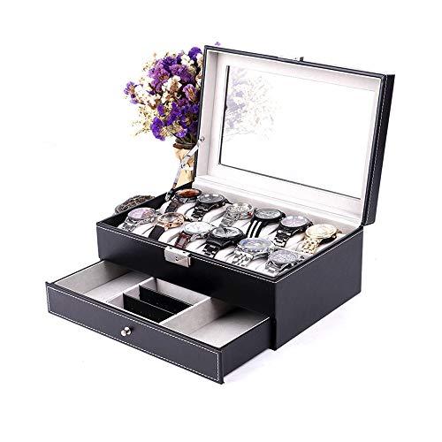 MxZas Caja de joyería para reloj, duradera, de gama alta, doble joyero, anillo, pendientes, gafas de sol, caja de almacenamiento (color: B, tamaño: 30 x 20 x 13 cm)