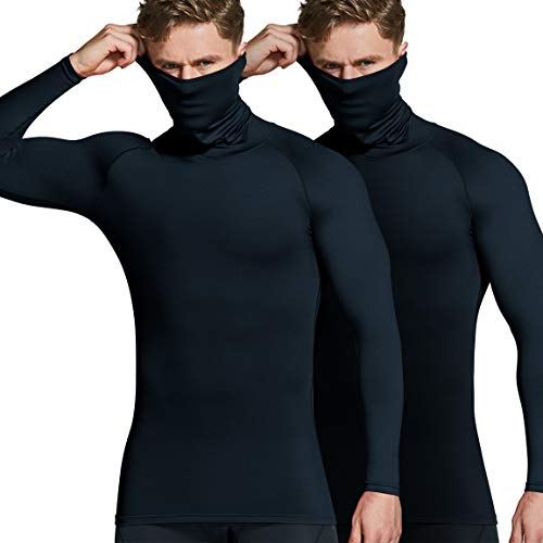 ATHLIO Men's Thermal Long Sleeve Compression Shirts, Mock Winter Sports Base Layer Top, Active Running Shirt, 2pack(lyt24) - Black/Black, XX-Large