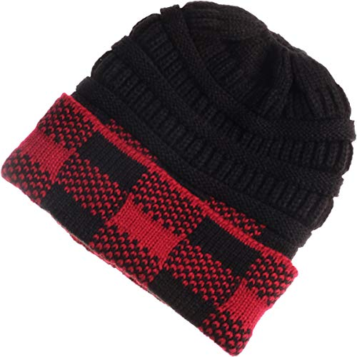 VIVIAN & VINCENT Buffalo Plaid Checker Fleeced Fuzzy Lined Unisex Chunky Thick Warm Stretchy Beanie Hat Cap Red Black