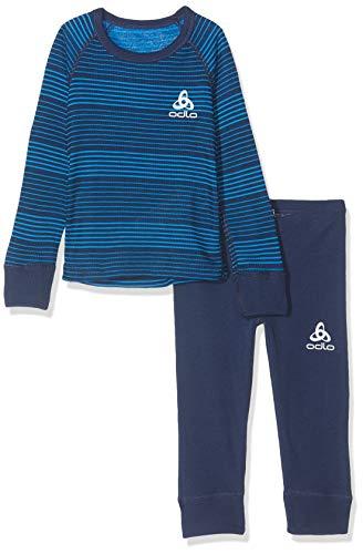 Odlo Set Active Warm Kids Ensemble Mixte Enfant, Diving Navy-Directoire Blue-Stripes, FR : M (Taille Fabricant : 140)
