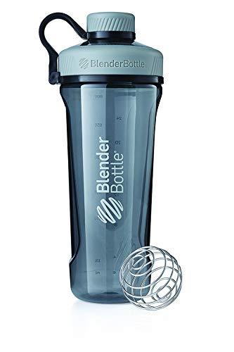 BlenderBottle Radian Tritan Trinkflasche mit BlenderBall, geeignet als Eiweiß Shaker, Protein Shaker, Wasserflasche, BPA frei, skaliert bis 700 ml, Fassungsvermögen 940 ml, grau