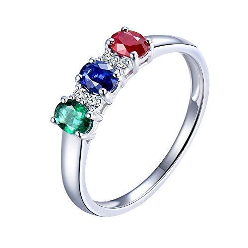 YongSi Three Stone Emerald Ruby Sapphire Diamond Statement Rings in 14K White Gold