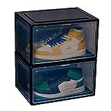 Caja Organizadora De Zapatos Transparente, Zapatillas De Deporte De PláStico Apilables Caja De Zapatos, Vitrina Para Zapatos, Con Cubierta MagnéTica, A Prueba De Polvo, 2 Piezas,Black