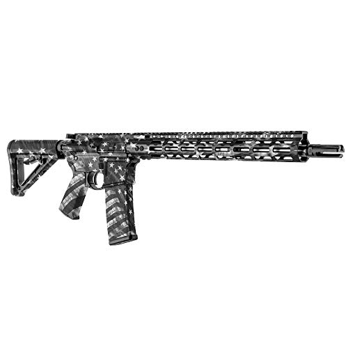 GunSkins AR-15 Rifle Skin - Premium Vinyl Gun Wrap with Precut Pieces - Easy to Install and Fits Any AR15 or M4-100% Waterproof Non-Reflective Matte Finish - Made in USA - Proveil Victory Grey