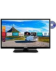 Telefunken XF22G501VD 55 cm (22 inch) televisie (Full HD, Triple Tuner, Smart TV, Prime Video, geïntegreerde DVD-speler, 12 V, Werkt met Alexa)