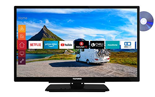 Telefunken XF22G501VD 55 cm (22 inch) televisie (Full HD, Triple Tuner, Smart TV, Prime Video, geïntegreerde DVD-speler, 12 V, Works with Alexa)