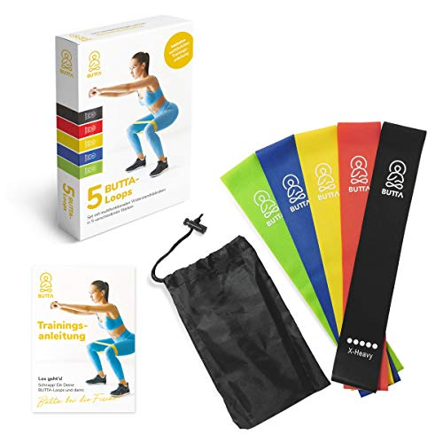 Butta Widerstandsbänder [5er Set] Fitnessband Gymnastikband mit Deutscher Anleitung für Bauch, Beine, Po, Yoga, Crossfit, Pilates, Physiotherapie, Muskelaufbau, 100% Naturlatex, Training zuhause