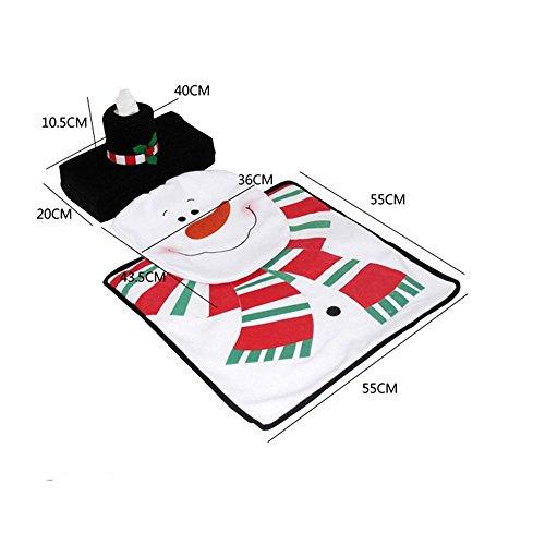 HuntGold Navidad del muñeco de WC 3 piezas funda de asiento y tapetes de baño Set de Navidad Decoraciones