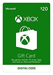 Get an Xbox gift card for games and entertainment on Xbox and Windows Buy the latest games, map packs, movies, TV, music, apps and more* On Xbox One, buy and download blockbuster games the day they're released Great as a gift, allowance, or credit ca...