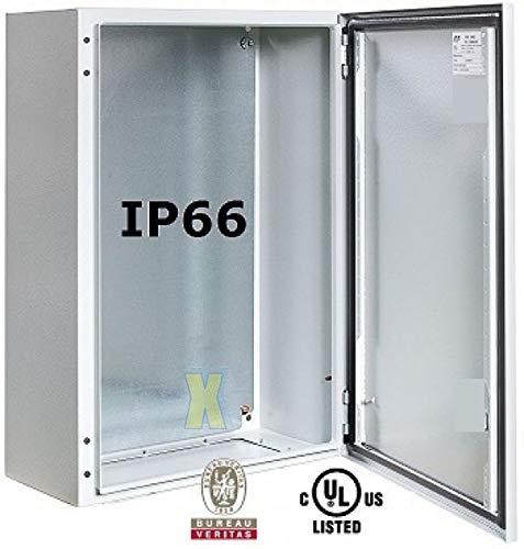Schaltschrank 400x300x200 mm HBT IP66 RAL7035 Stahlblech incl. Montageplatte mit Standardtür und Knebelschloss EK333