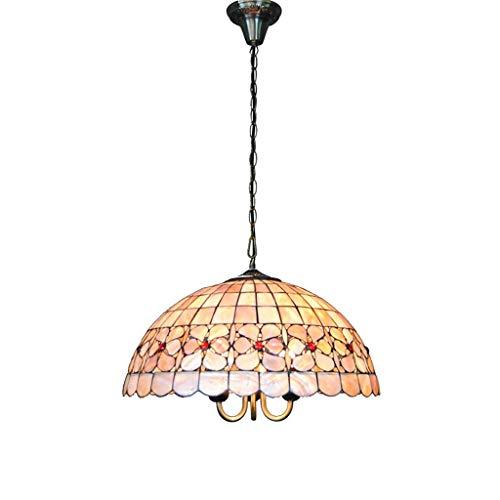 Iluminación Tiffany, Tiffany Europeo Flor Perla Shell lámpara salón dormitorio bar decoración 18 pulgadas