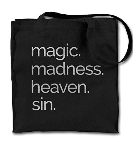 Teequote Magic Madness Heaven Sin Religion Cool Schwarz Canvas Tote Tragetasche, Tuch Einkaufen Umhängetasche