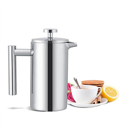 VBESTLIFE Cafetera de acero inoxidable con aislamiento de doble pared, prensa francesa, cafetera de prensa francesa con filtro, 350 ml (3 tazas)
