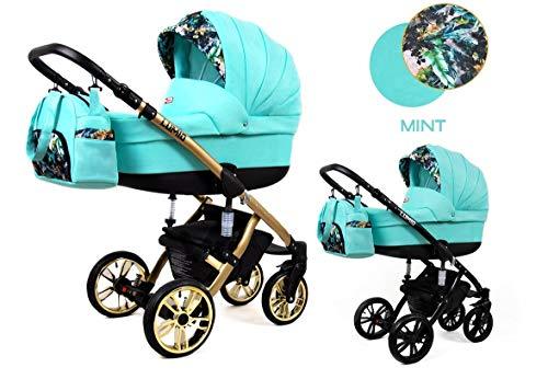 Lux4Kids Kinderwagen Lumi 3in1 2in1 Megaset Buggy Autositz Babyschale Sportsitz Mint 4in1 mit Isofix