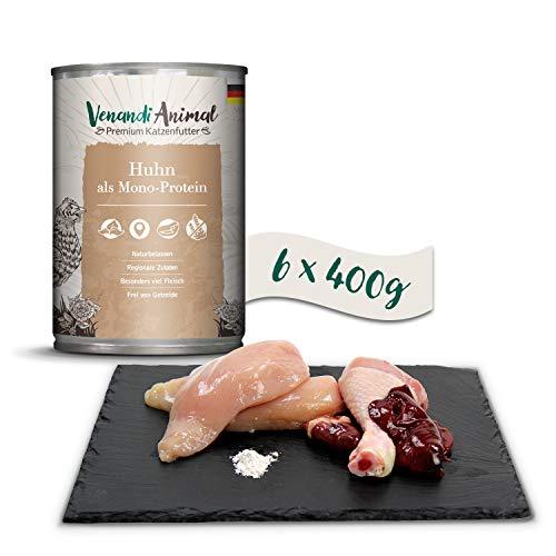 Venandi Animal Premium Nassfutter für Katzen, Huhn als Monoprotein, 6 x 400 g, getreidefrei und naturbelassen, 2.4 kg