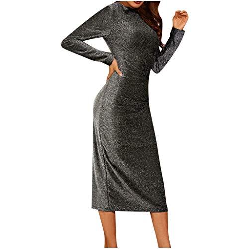 Janly Vestido de novia elegante para mujer, cuello redondo, manga larga, brillante, ajuste delgado, informal, para fiesta de noche, día de San Valentín, gris, M