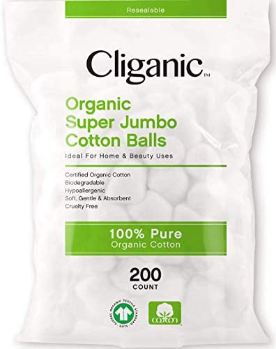 Cliganic Organic SUPER JUMBO Cotton Balls 200 Count Biodegradable Hypoallergenic Absorbent Large product image