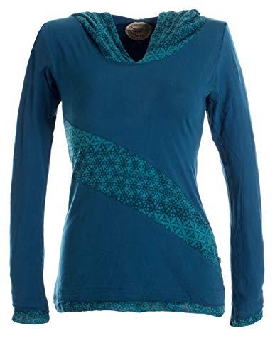 Vishes - Alternative Bekleidung - Lagenlook Longsleeve Shirt mit Zipfelkapuze türkis 42