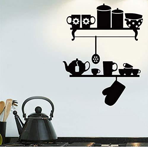 Geschirr Küchenregale Teekanne Ofenhandschuhe Wandkunst Aufkleber Abziehbilder Vinyl Wohnkultur Restaurant Cafe Wandbild Tapete 42X54Cm