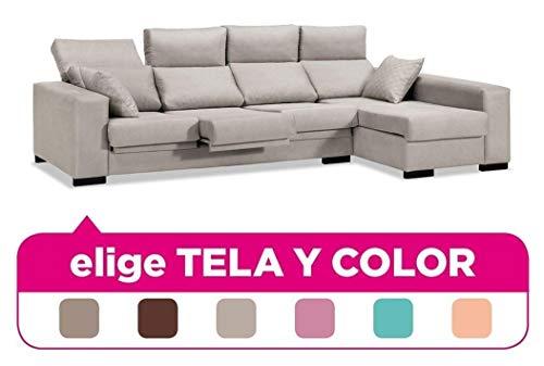 Sofá chaise longue de 4 plazas- con arcón abatible y tapizado a escoger