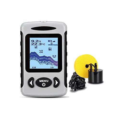 Detector de Profundidad Inalámbrico de Mano, Sensor de Sonda de Pesca con Detección de Gran Angular de 45 ° con Mayor Alcance, Alarma de Buscador de Peces con Pantalla LCD