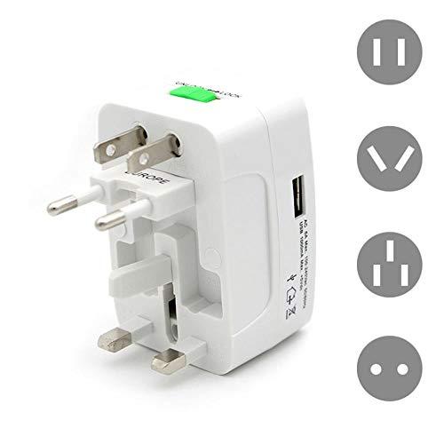 Asigo Enchufe eléctrico Adaptador de Enchufe Adaptador de Viaje Internacional Toma de Recorrido Universal de Cargador de energía USB convertidor