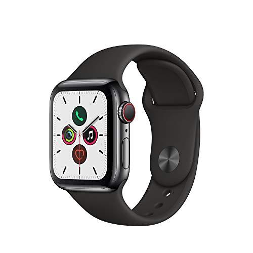 Apple Watch Series 5 (GPS+Cellular, 40 mm) Cassa in Acciaio Inossidabile Nero Siderale e Cinturino Sport - Nero