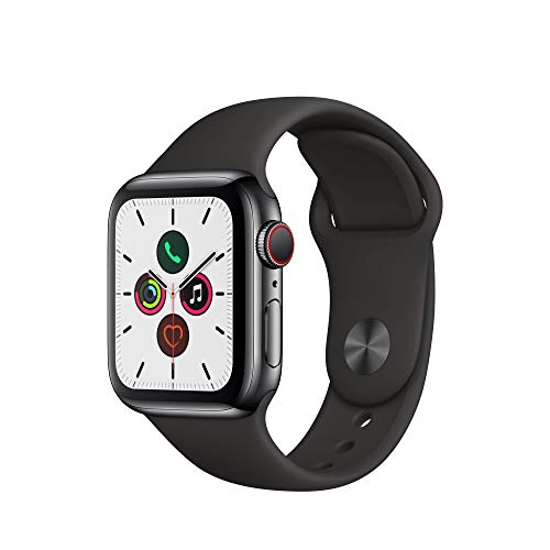 Apple Watch Series 5 (GPS+Cellular, 40 mm) Acero Inoxidable en Negro espacial - Correa Deportiva Negro